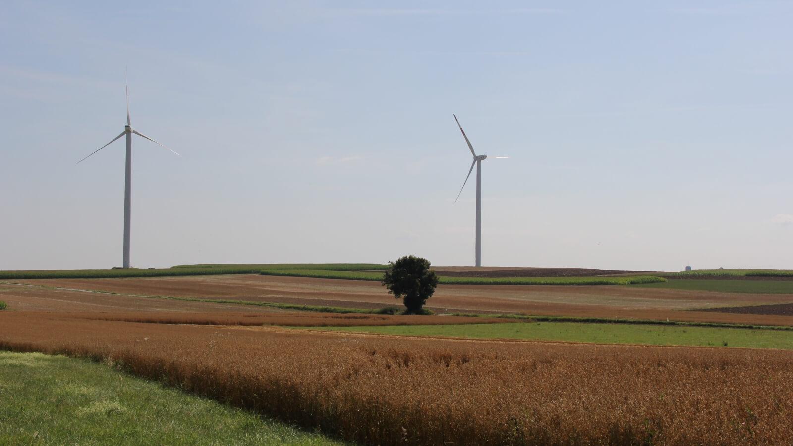 Blick auf Windräder aus Richtung Fluorn