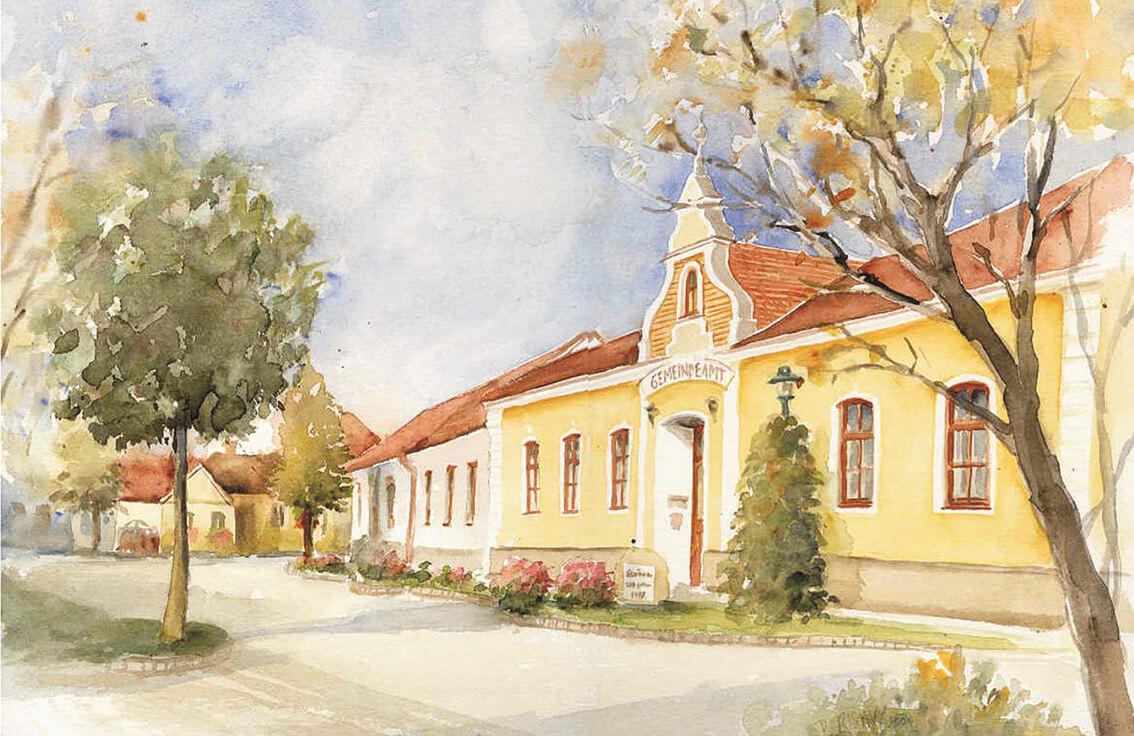 eine gemaltes Bild von der Gemeindeverwaltung Schönau