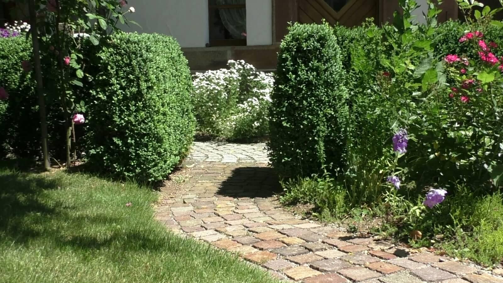 Bild von schön gestaltetem Gartenweg