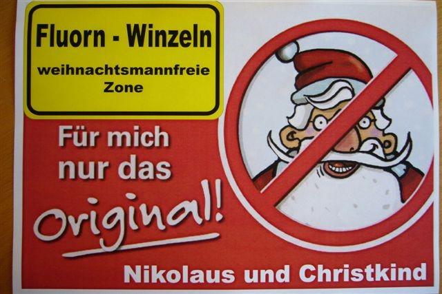 Logo der weihnachtsmannfreien Zone mit Ortsschild der Gemeinde Fluorn-Winzeln