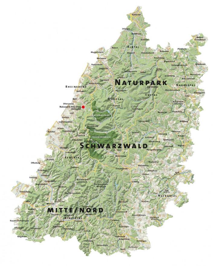 Karte des Naturpark Schwarzwald Mitte/Nord